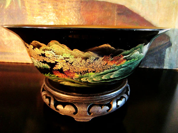 Chinoiserie Chinese Black Lacquered Scenic Golden Bowl Hand Painted Koi Fish - Designer Unique Finds   - 1