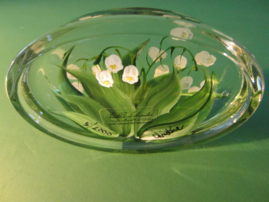 Lily of The Valley Glass Paperweight Signed Christine Schneider - Designer Unique Finds   - 1