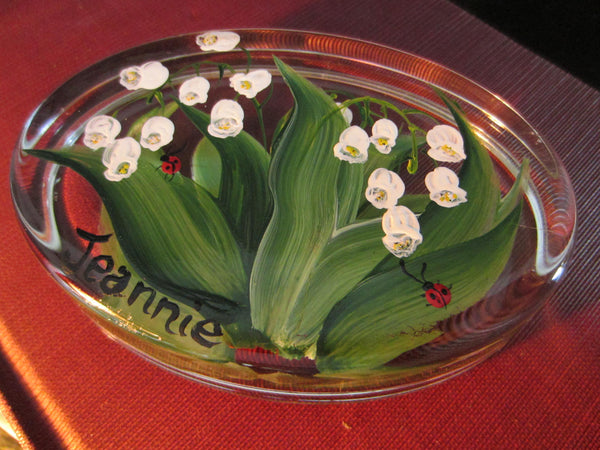 Lily of The Valley Glass Paperweight Signed Christine Schneider - Designer Unique Finds   - 4