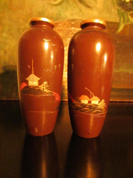 Asian Composition Vases Brown Painted Japanese Outdoor Scene Matching Pair - Designer Unique Finds