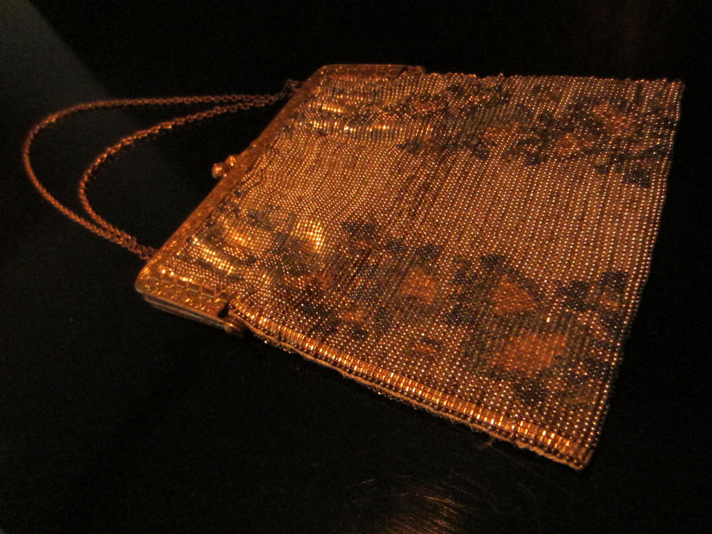 Microbeads Evening Purse Circa 1930 Signed France With Brass Chain - Designer Unique Finds