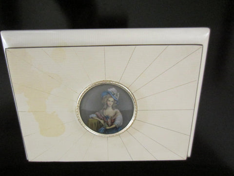 Victorian Style White Lacquered Italian Musical Jewelry Box Paper Portrait Medallion - Designer Unique Finds