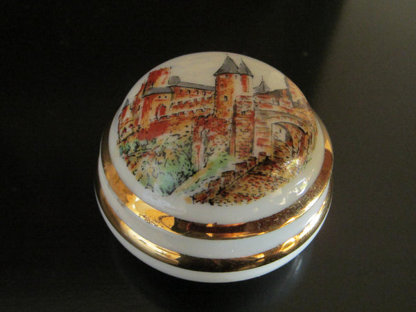 Limoges France Carcassonne La Cile Porcelain Miniature Box - Designer Unique Finds
