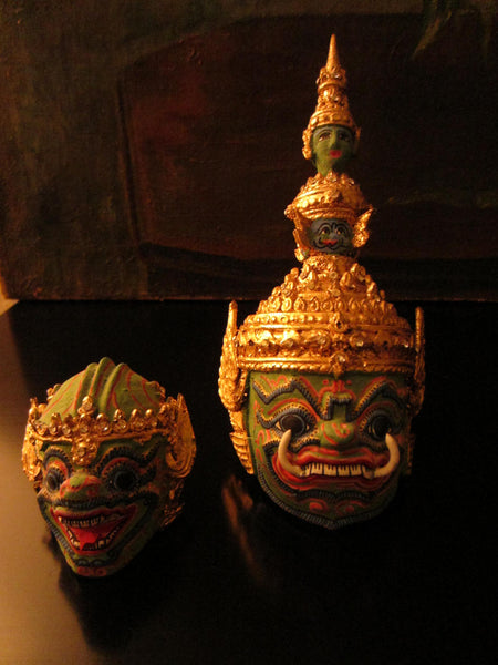 Thai Khon Tiara Jeweled Tone Paper Mache Green Masks Collection - Designer Unique Finds   - 4