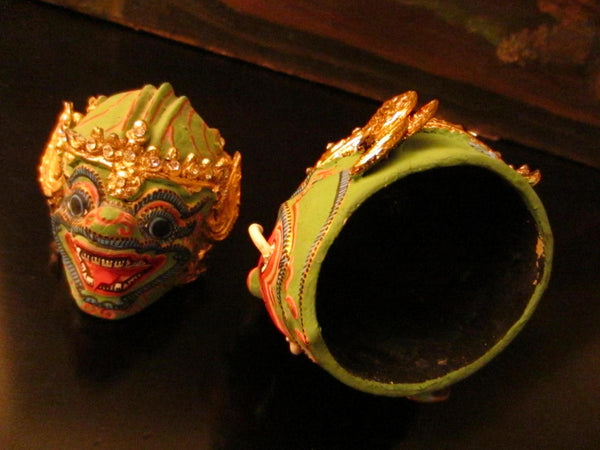 Thai Khon Tiara Jeweled Tone Paper Mache Green Masks Collection - Designer Unique Finds   - 2