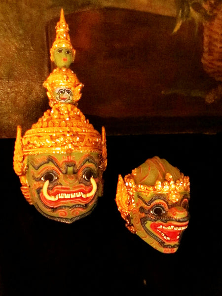 Thai Khon Tiara Jeweled Tone Paper Mache Green Masks Collection - Designer Unique Finds   - 3