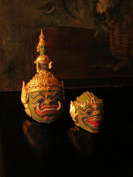 Thai Khon Tiara Jeweled Tone Paper Mache Green Masks Collection - Designer Unique Finds   - 7