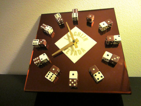 Laughlin Nevada Modern Casino Dice Clock Copper Tone Quartz Square Design - Designer Unique Finds