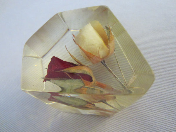 Lucite Deco Paperweight Yellow Red Rose Buds - Designer Unique Finds   - 4