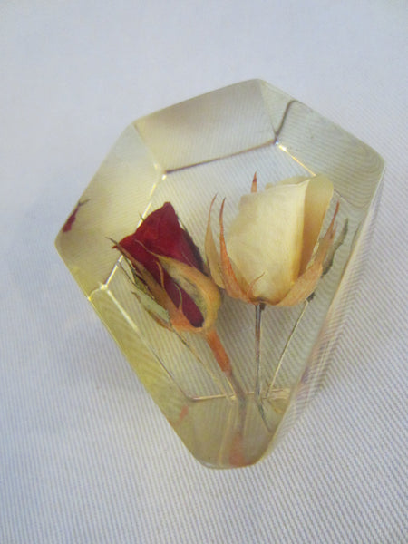 Lucite Deco Paperweight Yellow Red Rose Buds - Designer Unique Finds   - 2