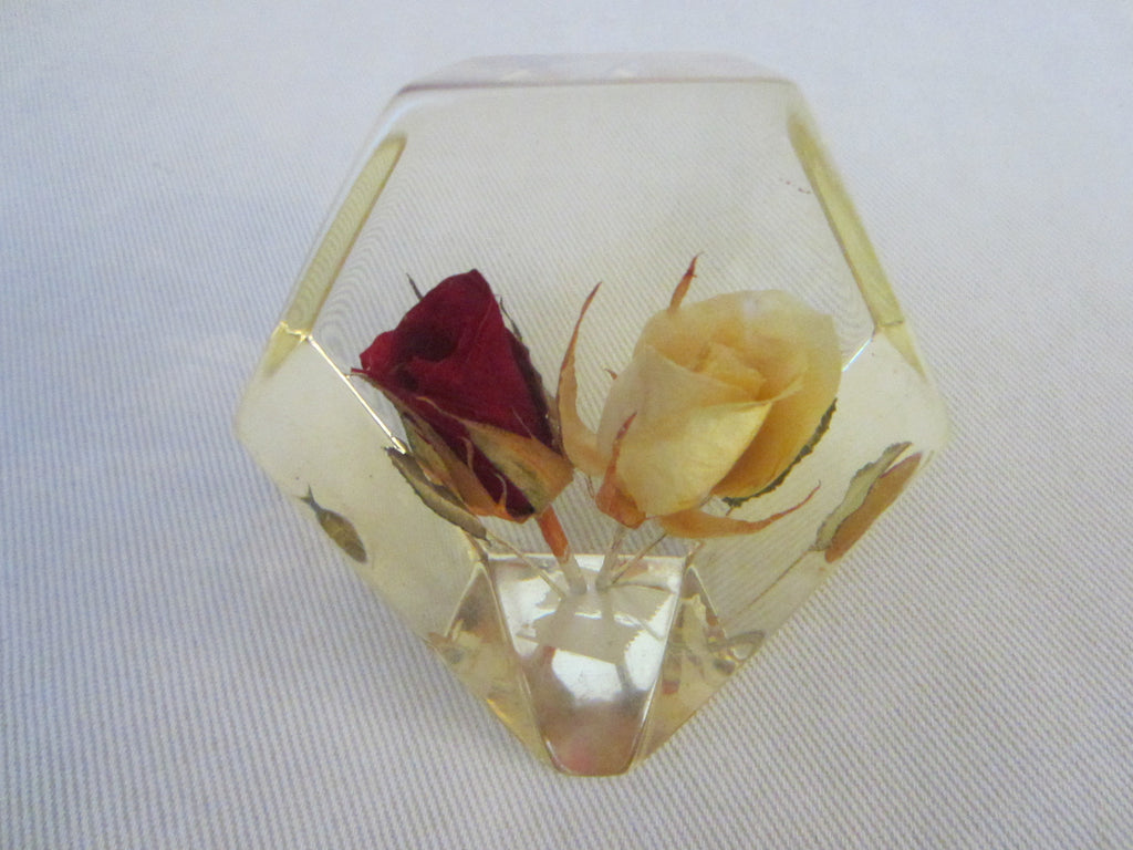 Lucite Deco Paperweight Yellow Red Rose Buds - Designer Unique Finds   - 1