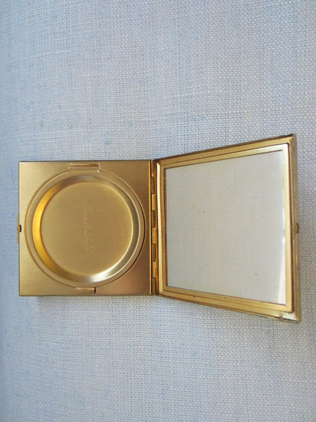 Prince Matchabelli Brass Crown Mirror Compact - Designer Unique Finds