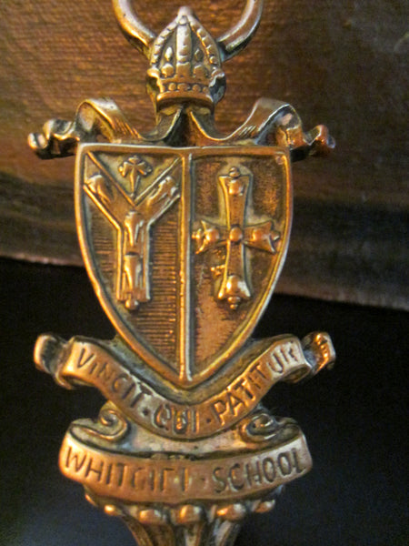 School Novelty Figurative Brass Deco Tray Inscribed Crest Coat of Arm Handle - Designer Unique Finds