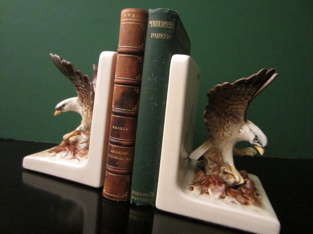 Ceramic Bald Eagle Hand Painted Bookends Mountain Scene - Designer Unique Finds