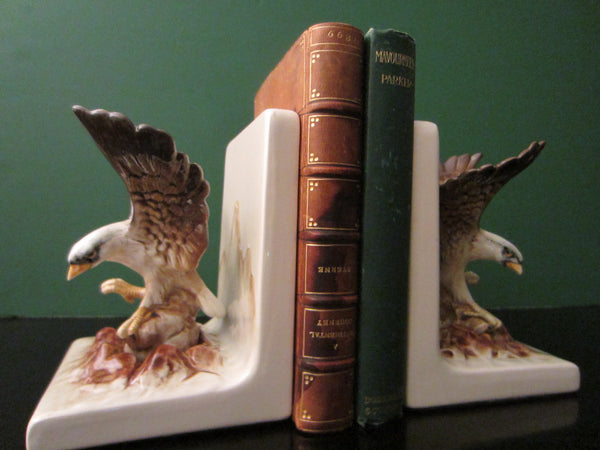 Eagle Ceramic Bookends Mountain Escape Hand Painted Labeled
