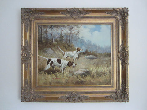 B Remington Hounds Oil On Canvas Hunting Scene Gilt Wood Frame Signed By Artist - Designer Unique Finds