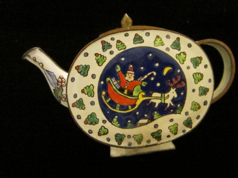 White Enamel Teapot Style Christmas Theme Trinket Box - Designer Unique Finds