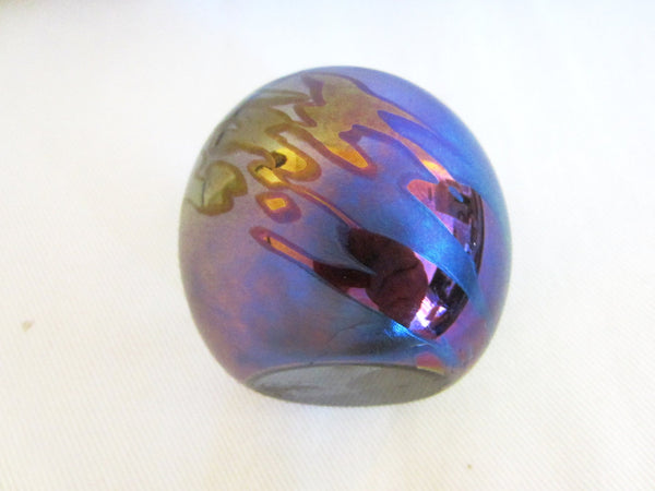 OBG Iridescent Glass Modernist Signed Paperweight - Designer Unique Finds   - 1
