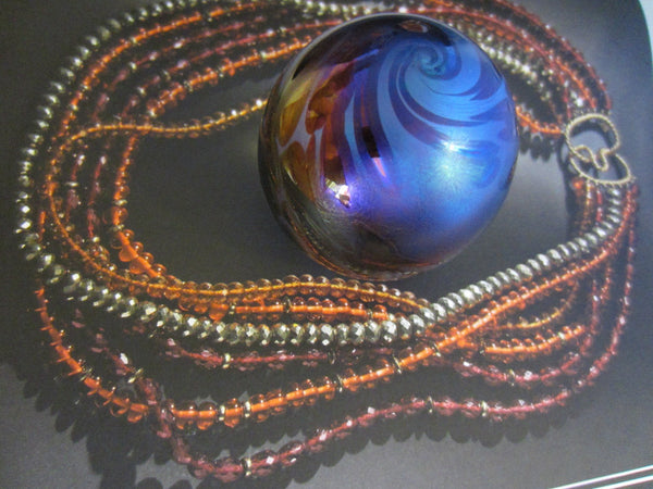 OBG Iridescent Glass Modernist Signed Paperweight - Designer Unique Finds   - 2