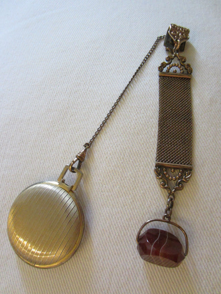 Victorian Watch Fob Chain Carnelian Agate Swivel Gem - Designer Unique Finds