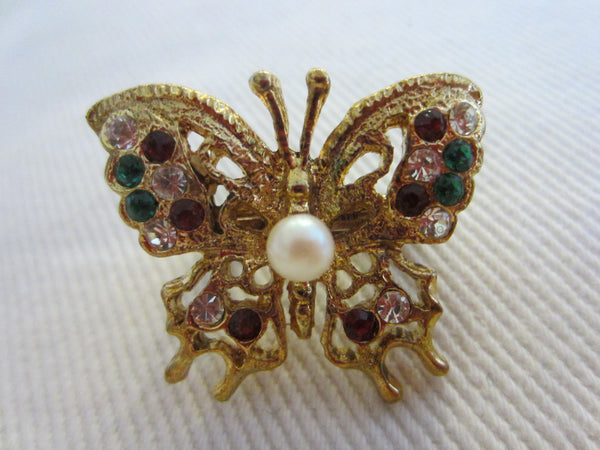Butterfly Scarf Clip With Colored Rhinestones Center Pearl - Designer Unique Finds   - 3