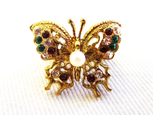 Butterfly Scarf Clip With Colored Rhinestones Center Pearl - Designer Unique Finds   - 1