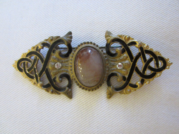 Art Deco Bar Brooch Black Enamel Rhinestone Cabochon - Designer Unique Finds   - 3