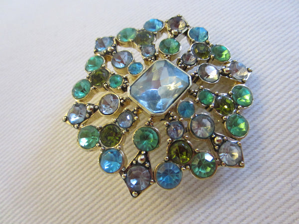 LC Designer Brooch Decorated Blue Green Glass Gems - Designer Unique Finds   - 3