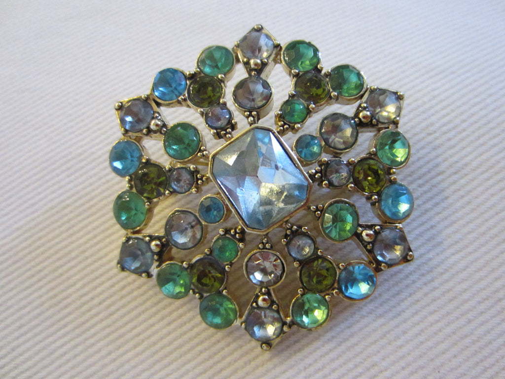 LC Designer Brooch Decorated Blue Green Glass Gems - Designer Unique Finds   - 1