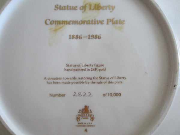 Commemorative Plate Gold Liberty Statue Pickard China Octagonal Decor - Designer Unique Finds   - 3