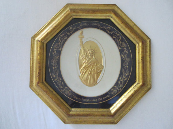 Commemorative Plate Gold Liberty Statue Pickard China Octagonal Decor - Designer Unique Finds   - 1