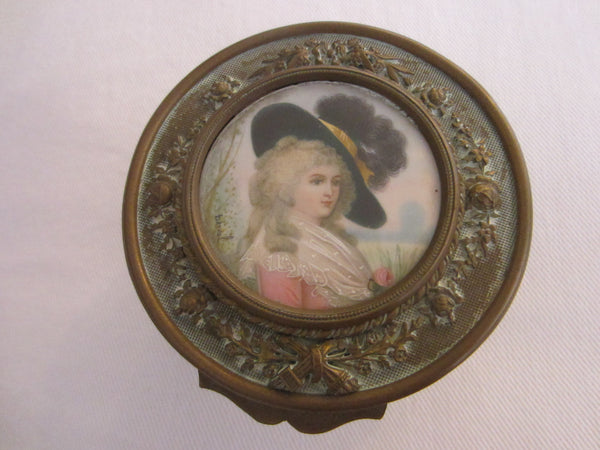 Ohlen Victorian Bronze Crystal Mirrored Powder Box Signed Berval Portrait - Designer Unique Finds   - 1
