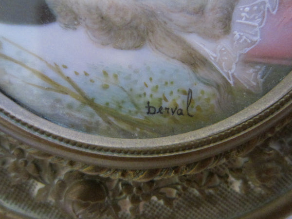 Ohlen Victorian Bronze Crystal Mirrored Powder Box Signed Berval Portrait - Designer Unique Finds   - 8