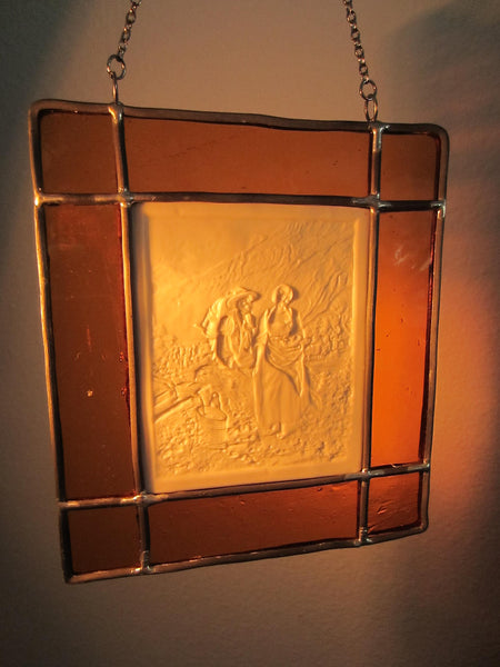 JM 1977 Stained Glass Impressionist Reverse Signed Resin Art - Designer Unique Finds