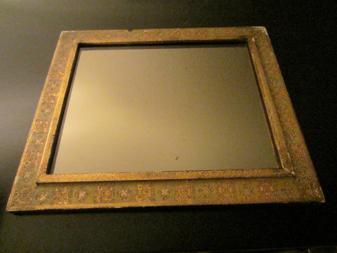 Mirror Florentine Frame Decorated Gilt Green Accent - Designer Unique Finds
