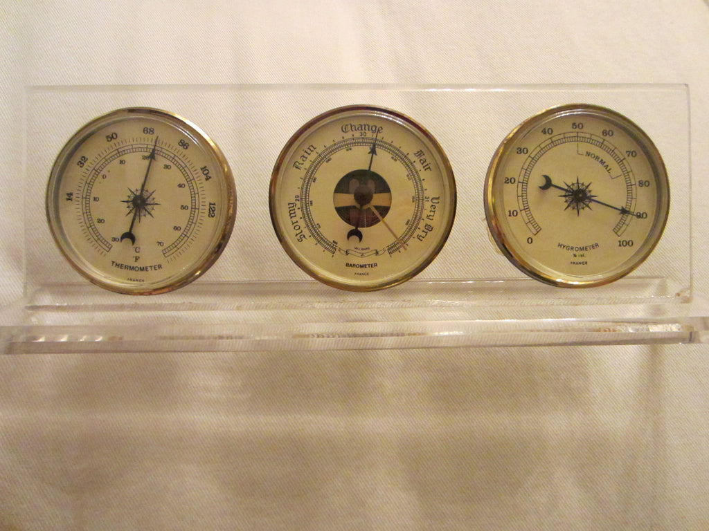 Lucite Millibars France Desktop Barometer Thermometer Hygrometer - Designer Unique Finds   - 1