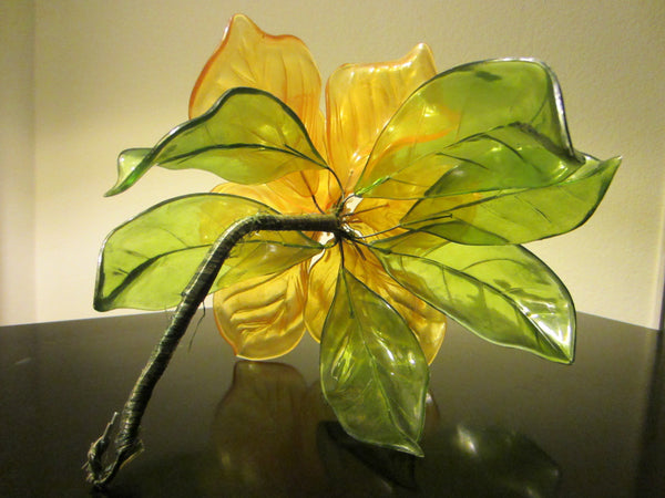 Yellow Bloom Stemmed Lucite Folk Art Flower - Designer Unique Finds