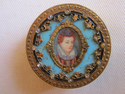 Victorian Champleve Italian Gilt Bronze Jeweled Portrait Compact - Designer Unique Finds