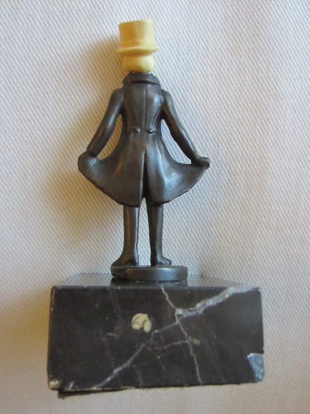 Art Deco Cast Iron Male Figurine Marble Base - Designer Unique Finds   - 2