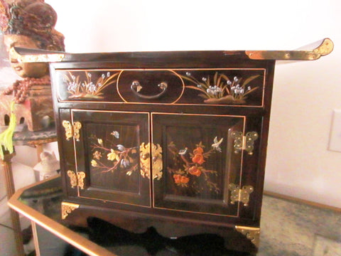 Asian Altar Jewerly Cabinet Floral Enameling Butterfly Brass Hinged Hardware - Designer Unique Finds   - 1