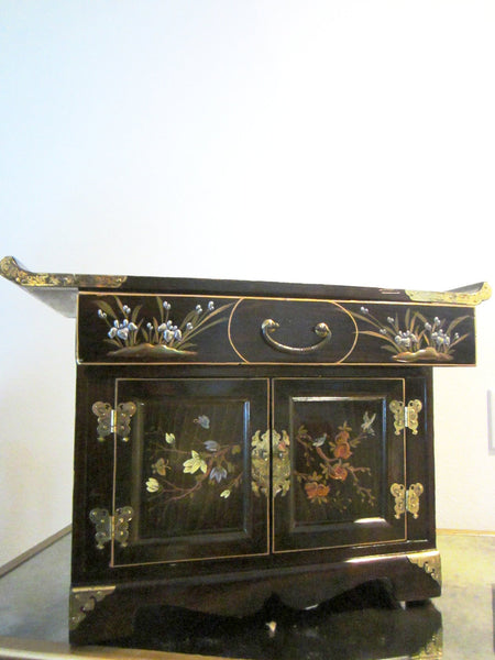 Asian Altar Jewerly Cabinet Floral Enameling Butterfly Brass Hinged Hardware - Designer Unique Finds   - 2