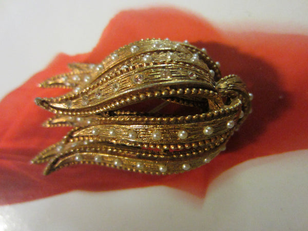 Golden Tulip Brooch Rhinestones Seed Pearls Decoration - Designer Unique Finds   - 4