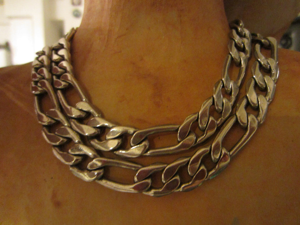 Sterling Link Vintage Chain Necklace Marked 925 - Designer Unique Finds