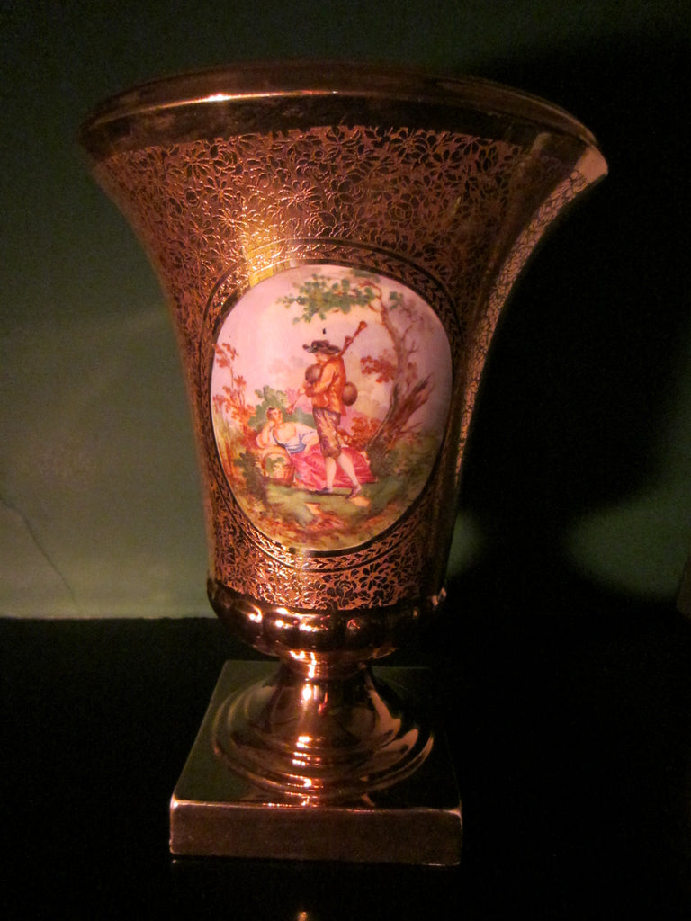 Art Deco Vase All Over Gold Hand Painted Romantic