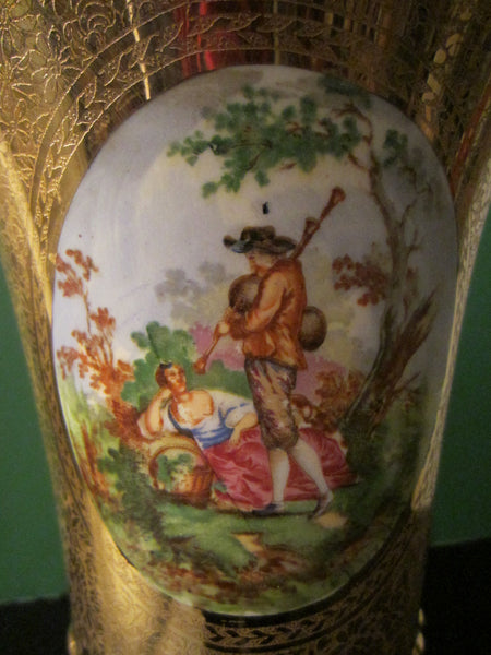 Art Deco Bell Shaped Porcelain Urn All Over Gold Painted Romantic Figures - Designer Unique Finds   - 4