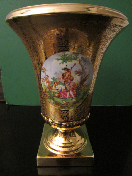Art Deco Bell Shaped Porcelain Urn All Over Gold Painted Romantic Figures - Designer Unique Finds   - 1