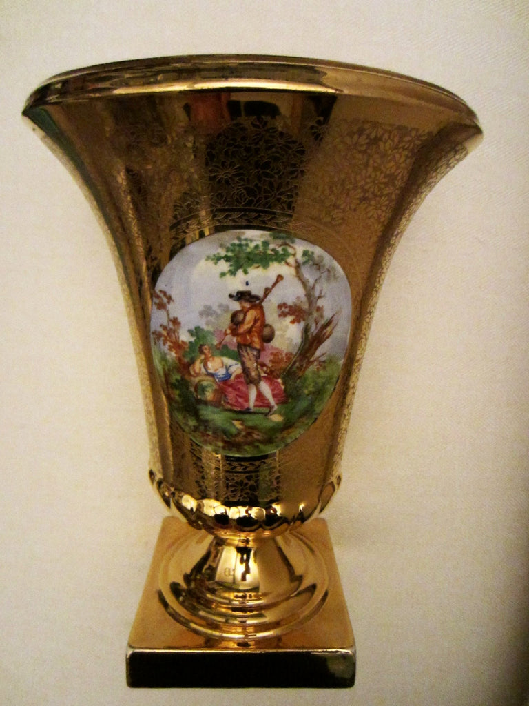 Art Deco Bell Shaped Porcelain Urn All Over Gold Painted Romantic Figures - Designer Unique Finds   - 2