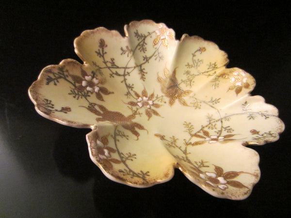 Oriental Scallop Bowl Gold Silver Porcelain Enameled Flowers - Designer Unique Finds   - 1