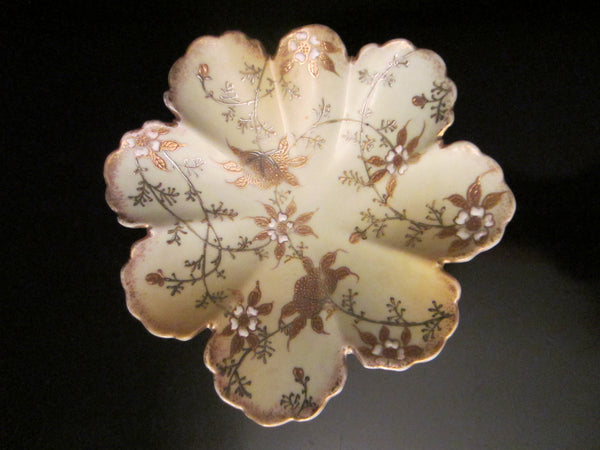 Oriental Scallop Bowl Gold Silver Porcelain Enameled Flowers - Designer Unique Finds   - 4