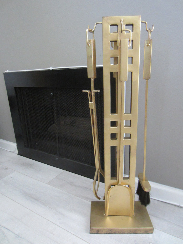 Brass Modernist Hollywood Style Fireplace Tools Set - Designer Unique Finds